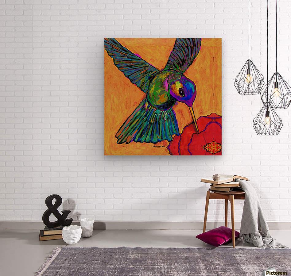 HUMMINGBIRD ON YELLOW  Wood print