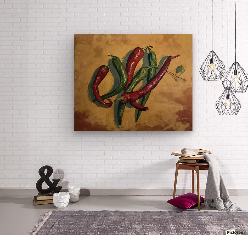 Six Peppers  Wood print