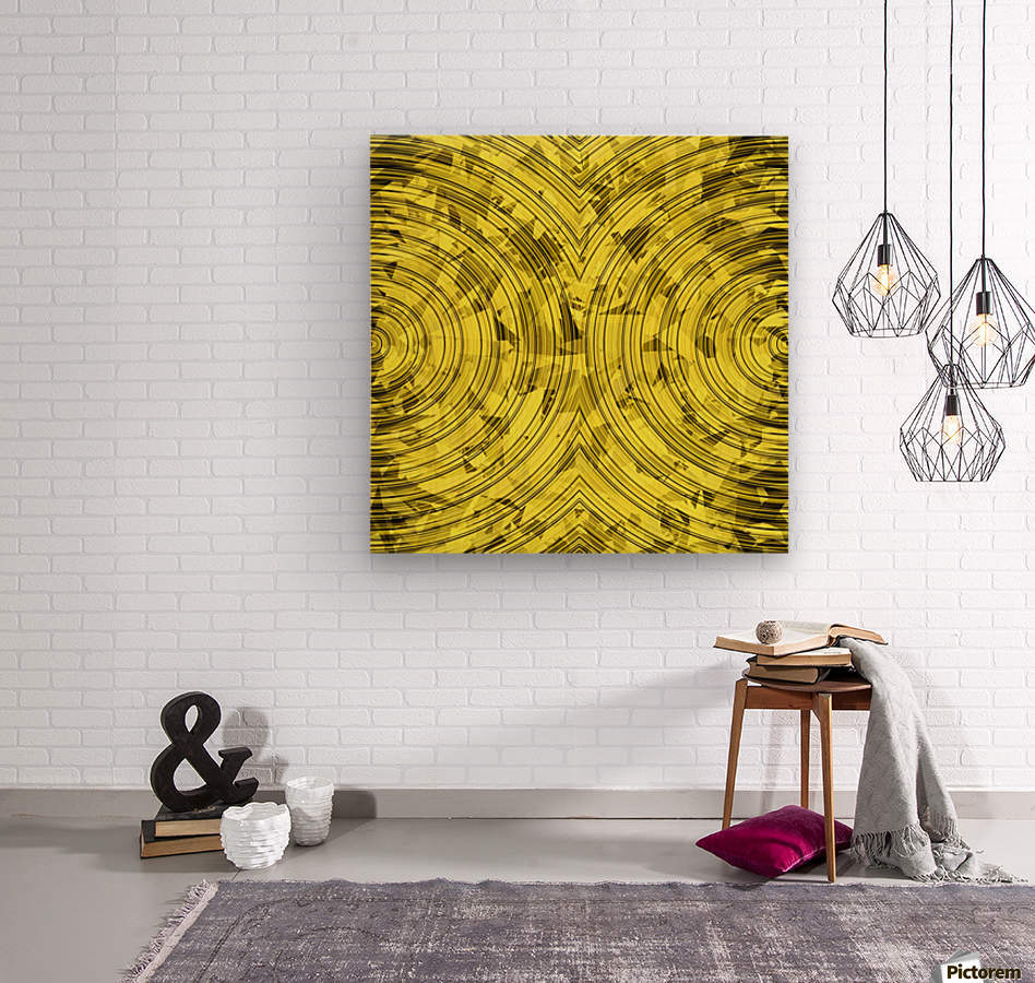 psychedelic geometric circle pattern abstract background in yellow ...