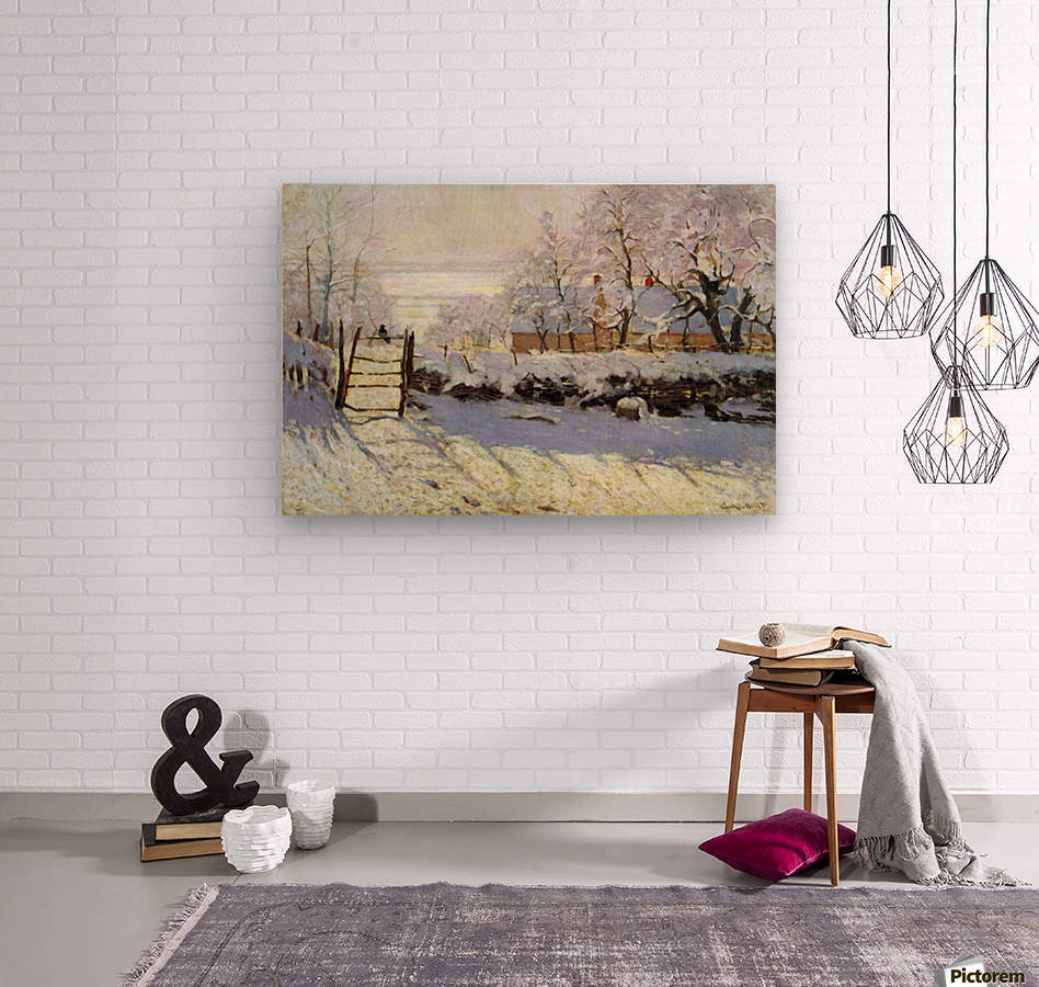 The Magpie by Monet  Wood print