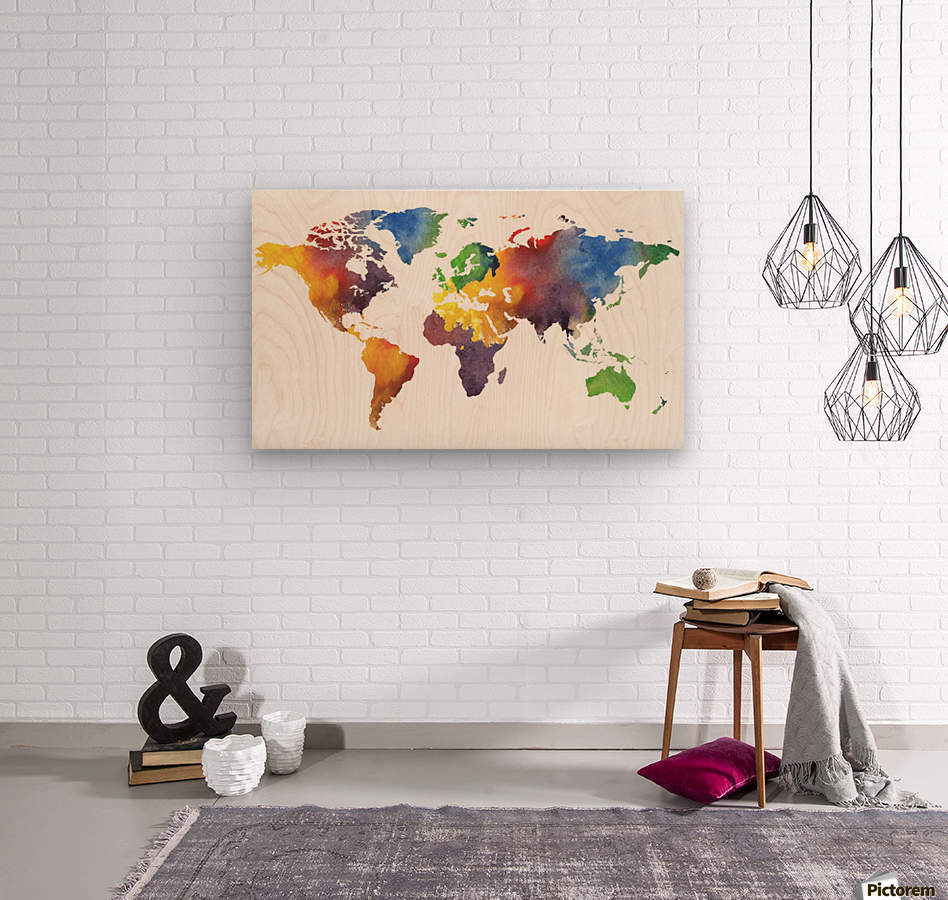 Colorful Map Of The World Watercolor  Wood print
