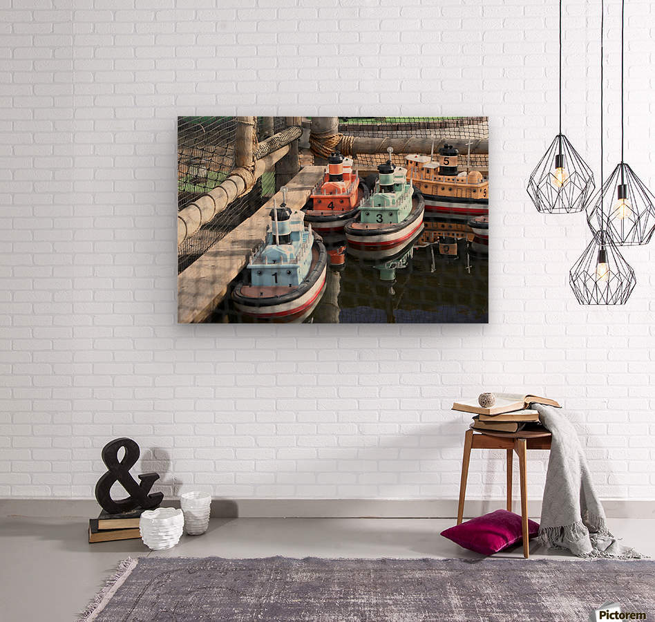 3 Toy Boats  Wood print