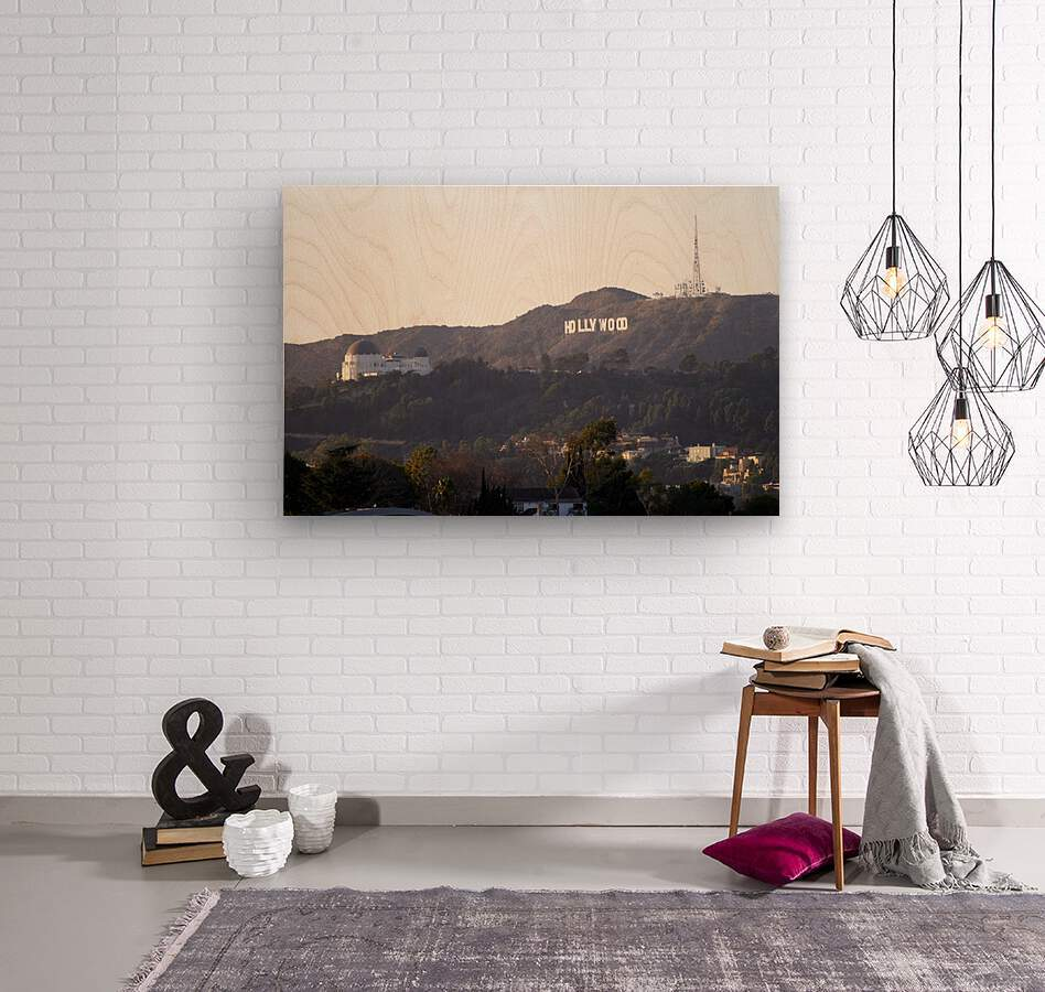 Hollywood Hills with Griffith Park Observatory  Impression sur bois