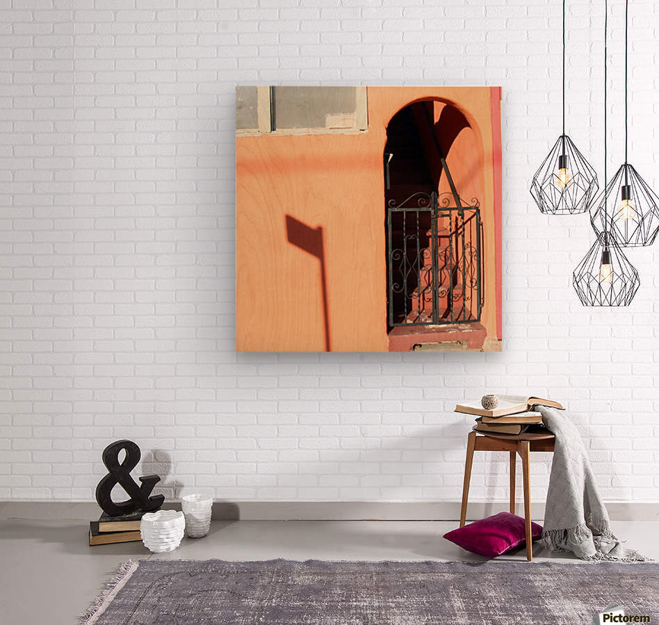 Arched Stairway with Gate  Wood print