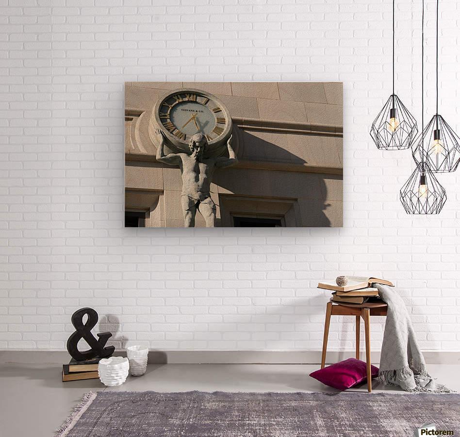 Man Holding Tiffany Clock  Wood print