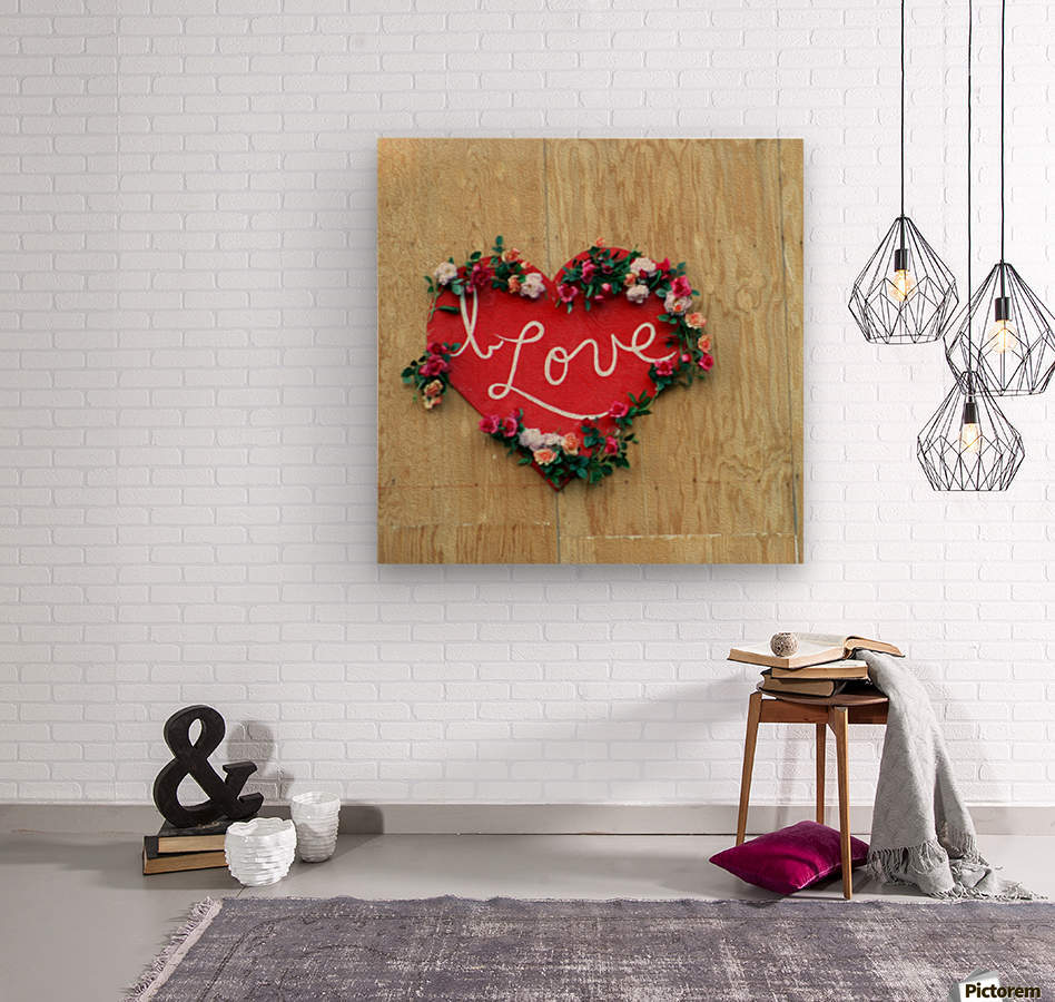 I love Heart - Square Canvas Print  Wood print