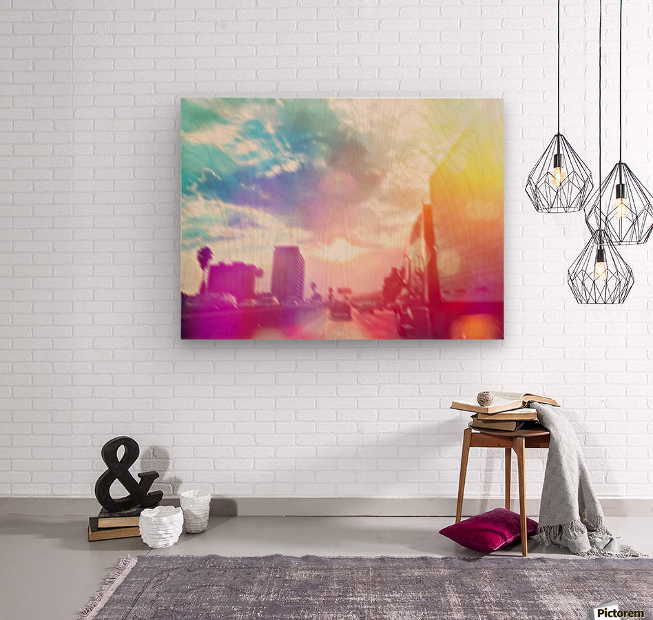 blue cloudy sky on the road with colorful bokeh light abstract  Wood print