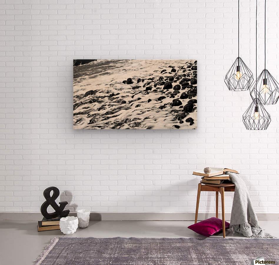 Beach Rocks Black and White II  Wood print
