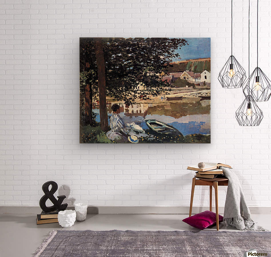 The river has burst its banks by Monet  Wood print