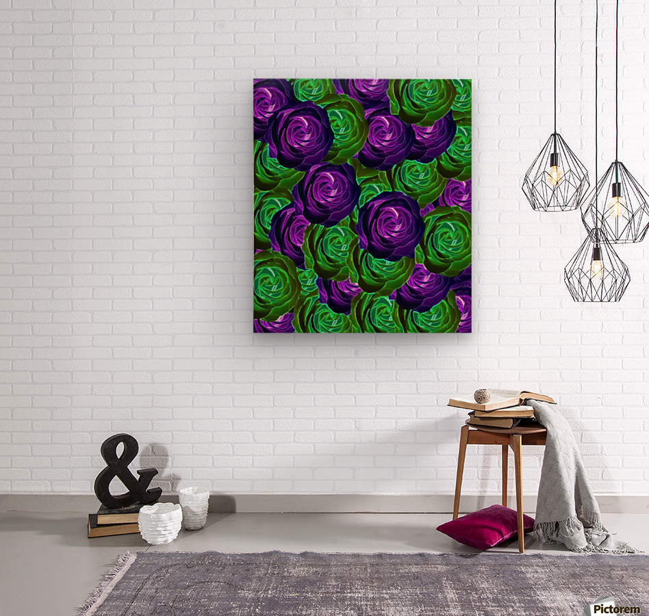 blooming rose texture pattern abstract background in purple and green  Wood print