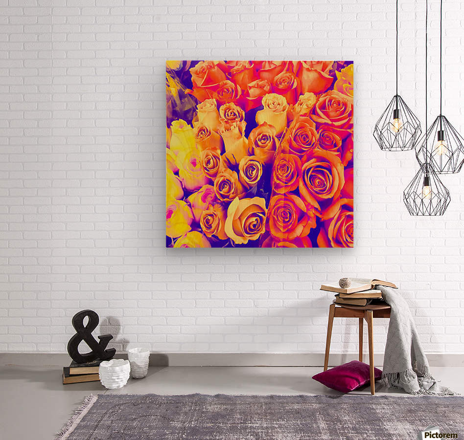 bouquet of roses texture pattern abstract in pink and white  Wood print