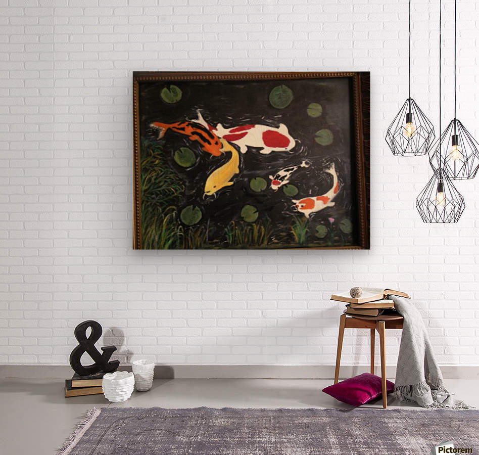 Koi Fish Painting  Wood print