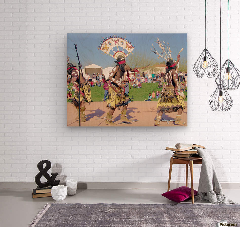 Apache Indian Tribal Ceremony  Wood print