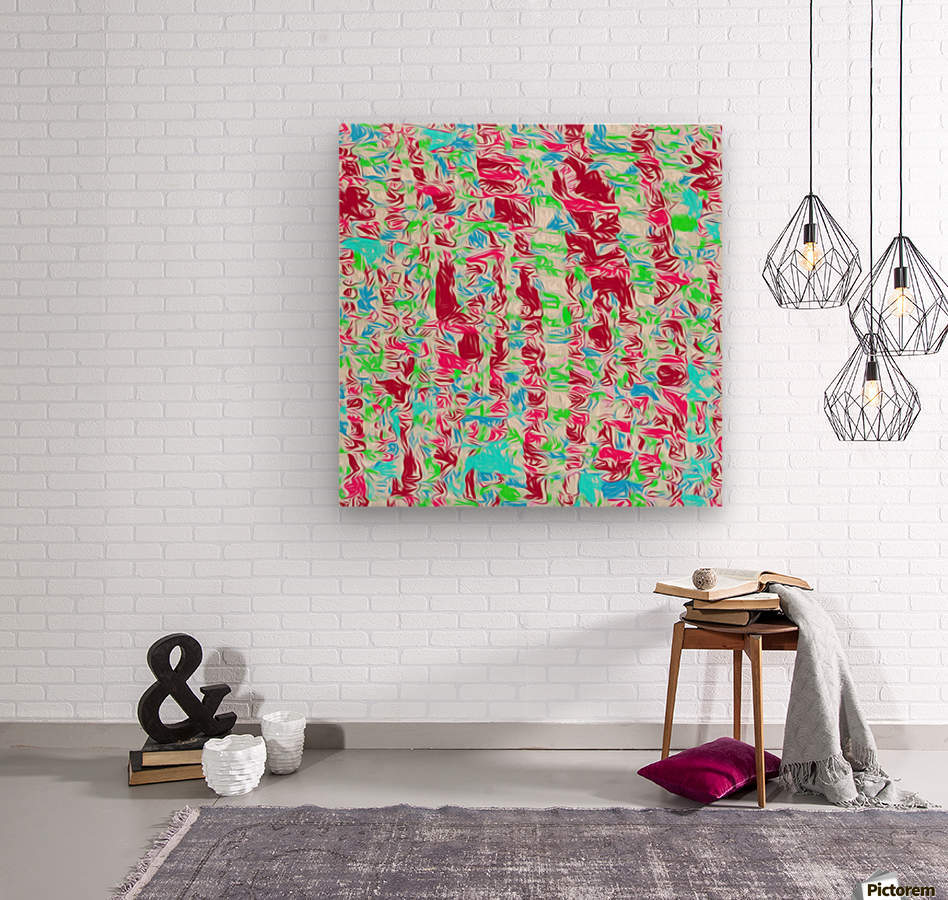 psychedelic painting texture abstract pattern background in pink blue green  Wood print