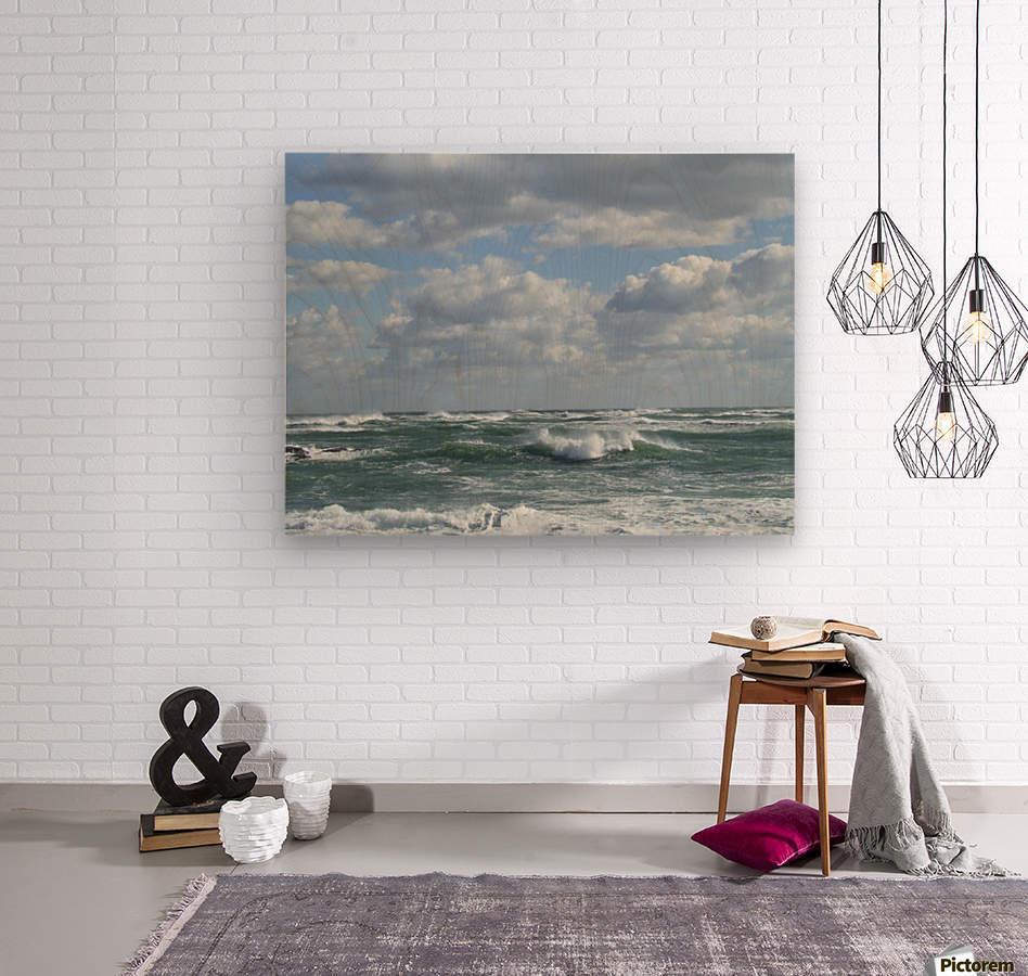 Clouds and Big waves  Newport RI.   Wood print