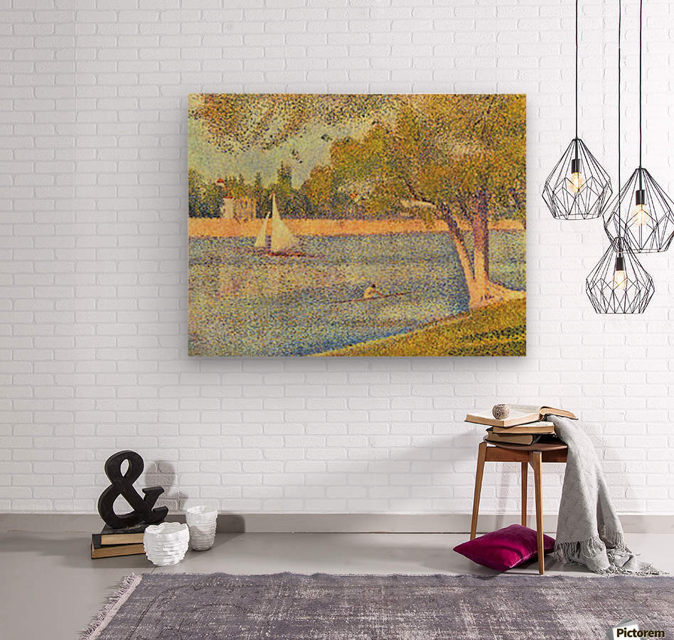 The Seine at the Grand Jatte, Spring by Seurat  Wood print