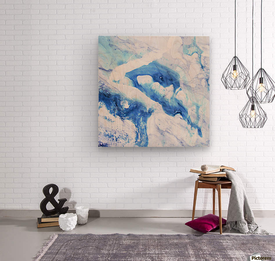 blue abstract marble  Wood print