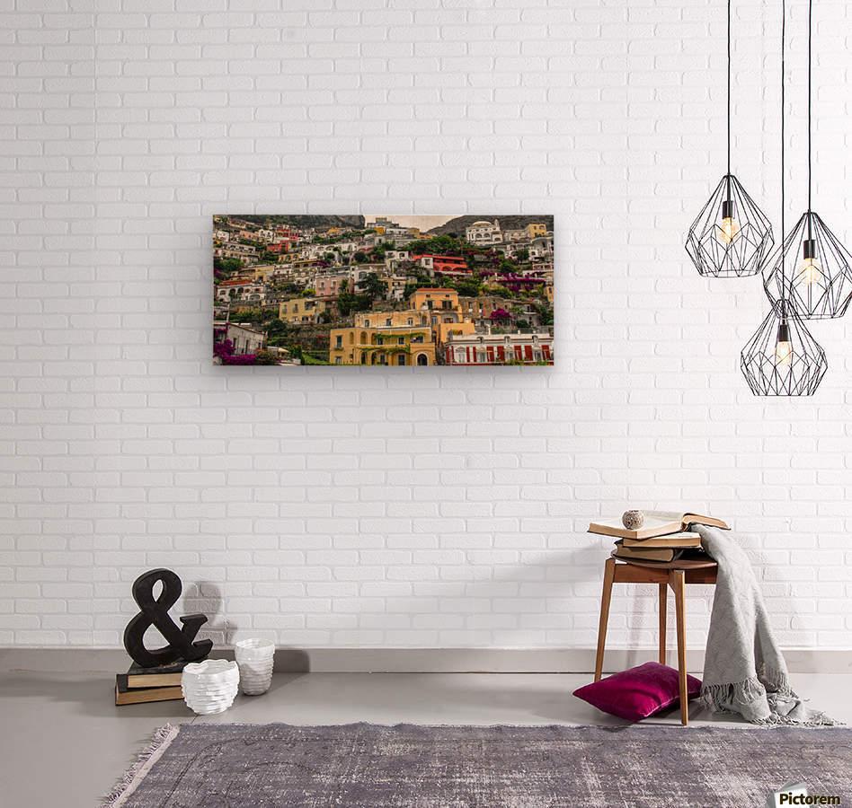 Positan village -  colourful houses  Wood print