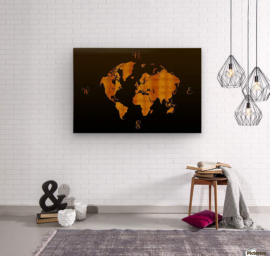 MODERN GRAPHIC ART World Map |  | Redgold  Wood print