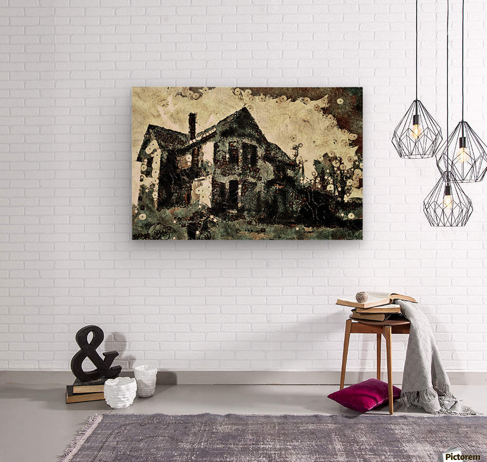 Haunted candy house  Wood print