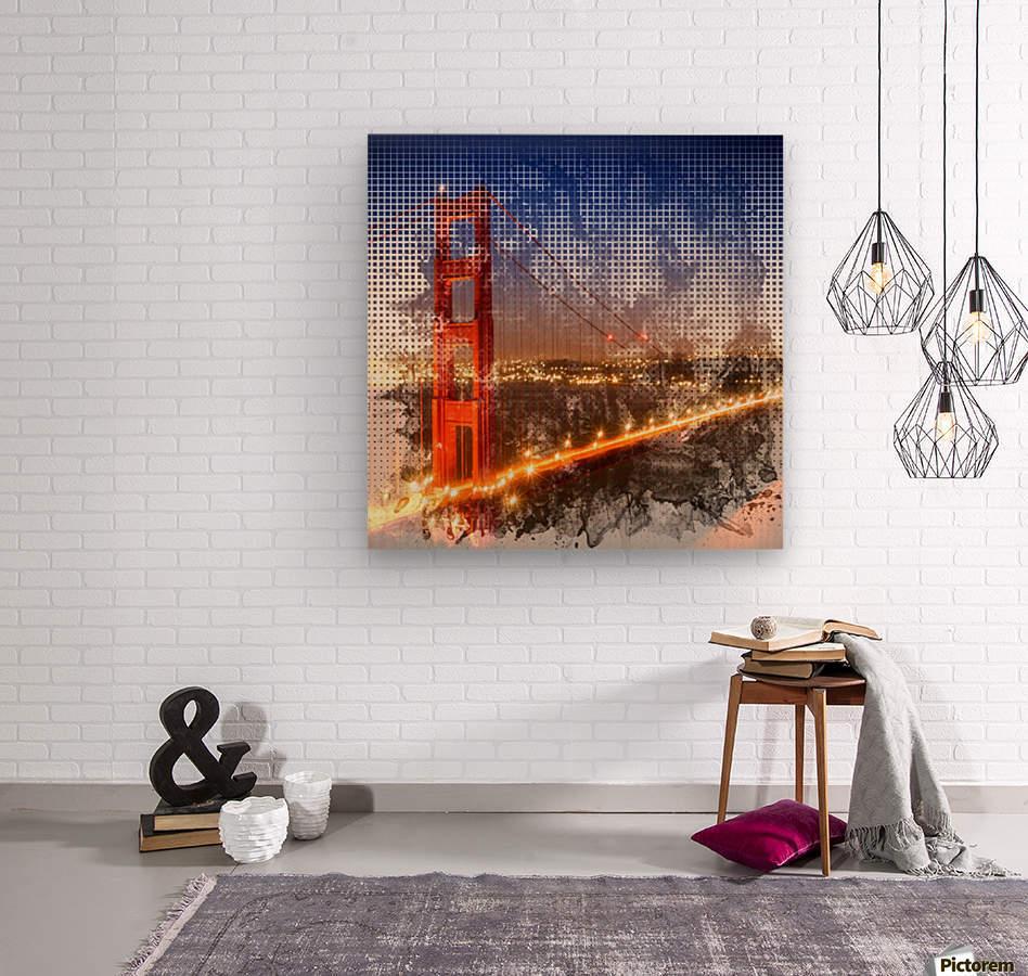 Graphic Art Golden Gate Bridge | watercolour style  Wood print