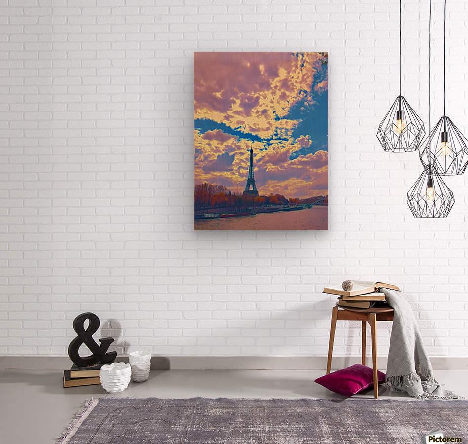 River & Eiffel   Wood print