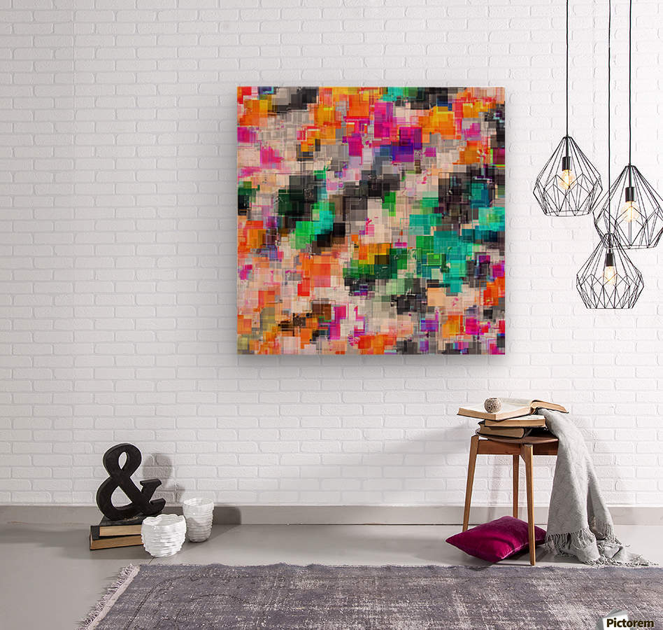 psychedelic geometric square pixel pattern abstract in orange green pink blue  Wood print