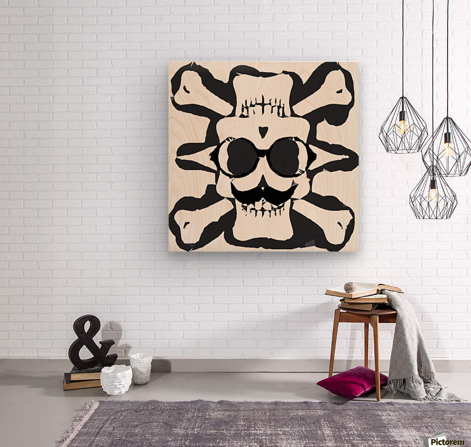 old funny skull and bone art portrait in black and white  Wood print