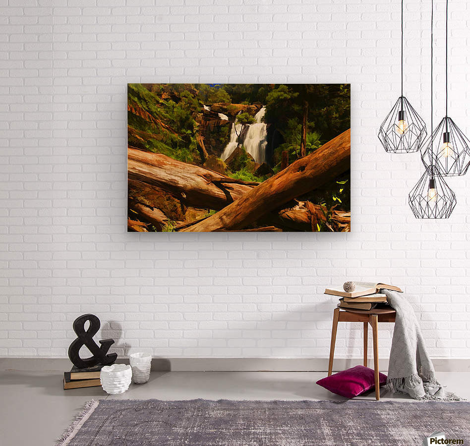 Tree Trees Fallen accross a Stream and Waterfall Digital Painting C010300_1114915  Wood print
