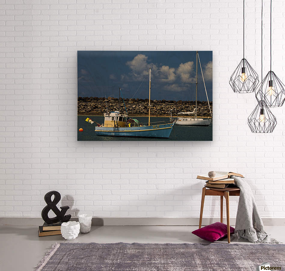 Blue Boat at Apollo Bay 011142609  Wood print