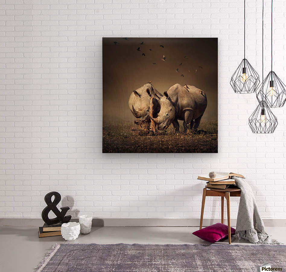 Two Rhinoceros with birds  Wood print