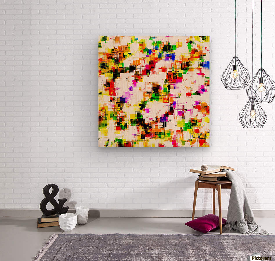 psychedelic geometric square pixel pattern abstract background in green red pink yellow  Wood print