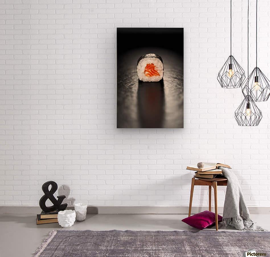 Maki Sushi Roll with Salmon  Wood print