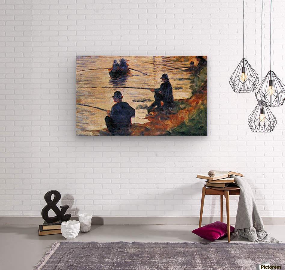 Two Fishermen by Seurat  Wood print