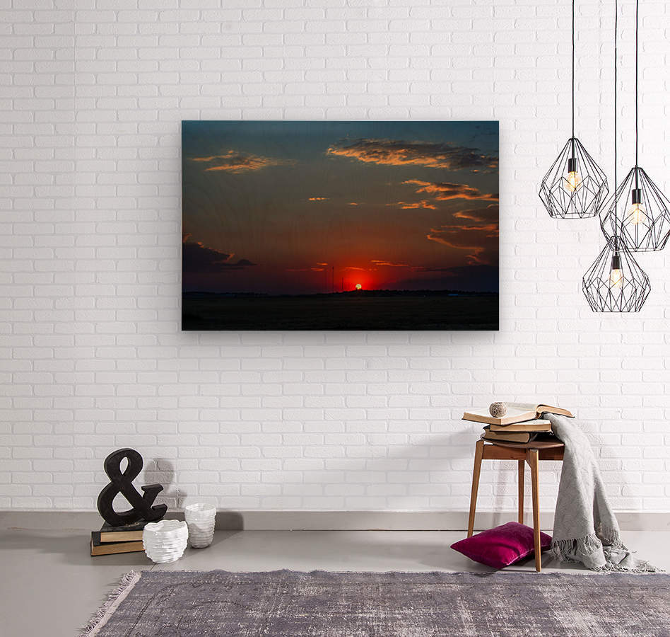 Crimson Red Sunset Over The Hill With A Black Silhouette  Wood print