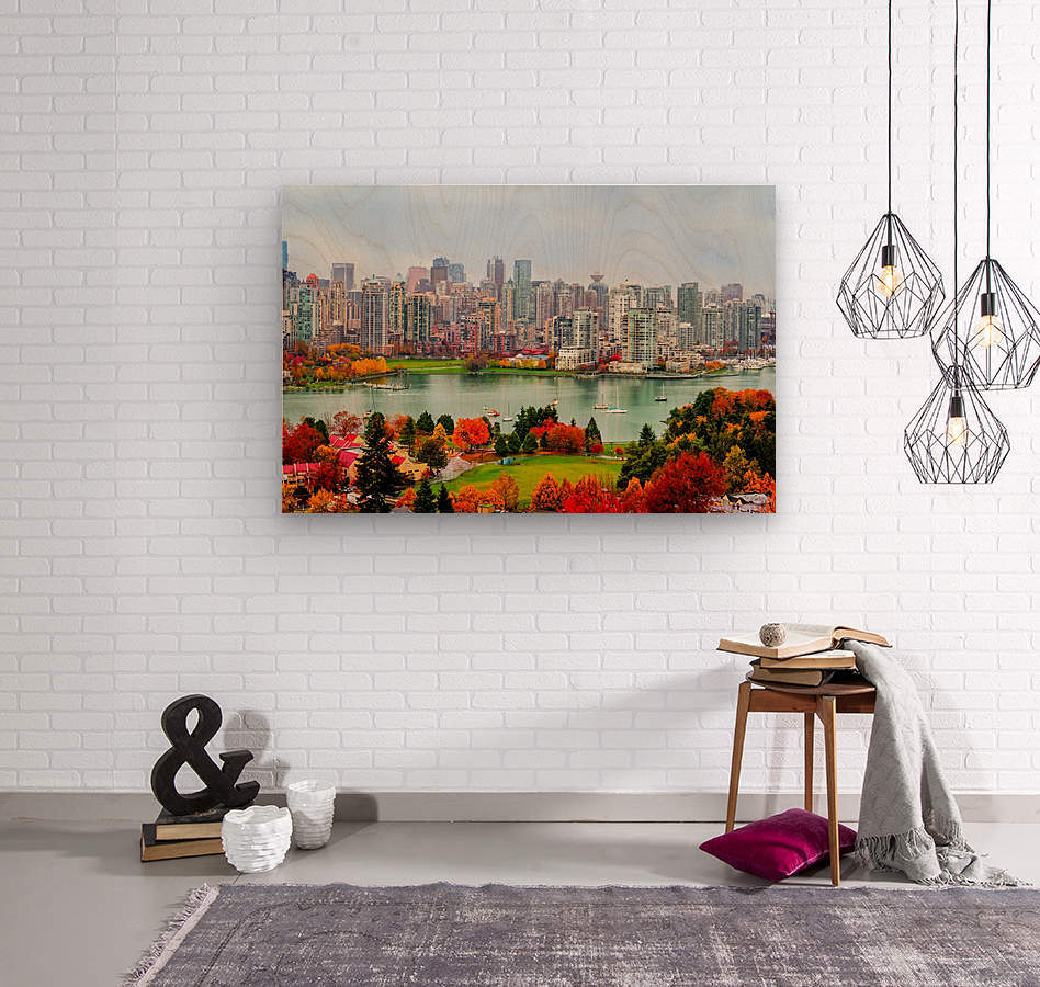 colorful autumn landscape of a modern city by the river  Wood print