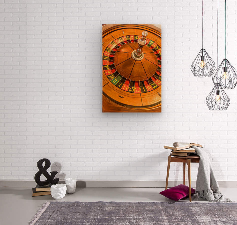 Round, wooden roulette wheel with numbers around the wheel  Wood print