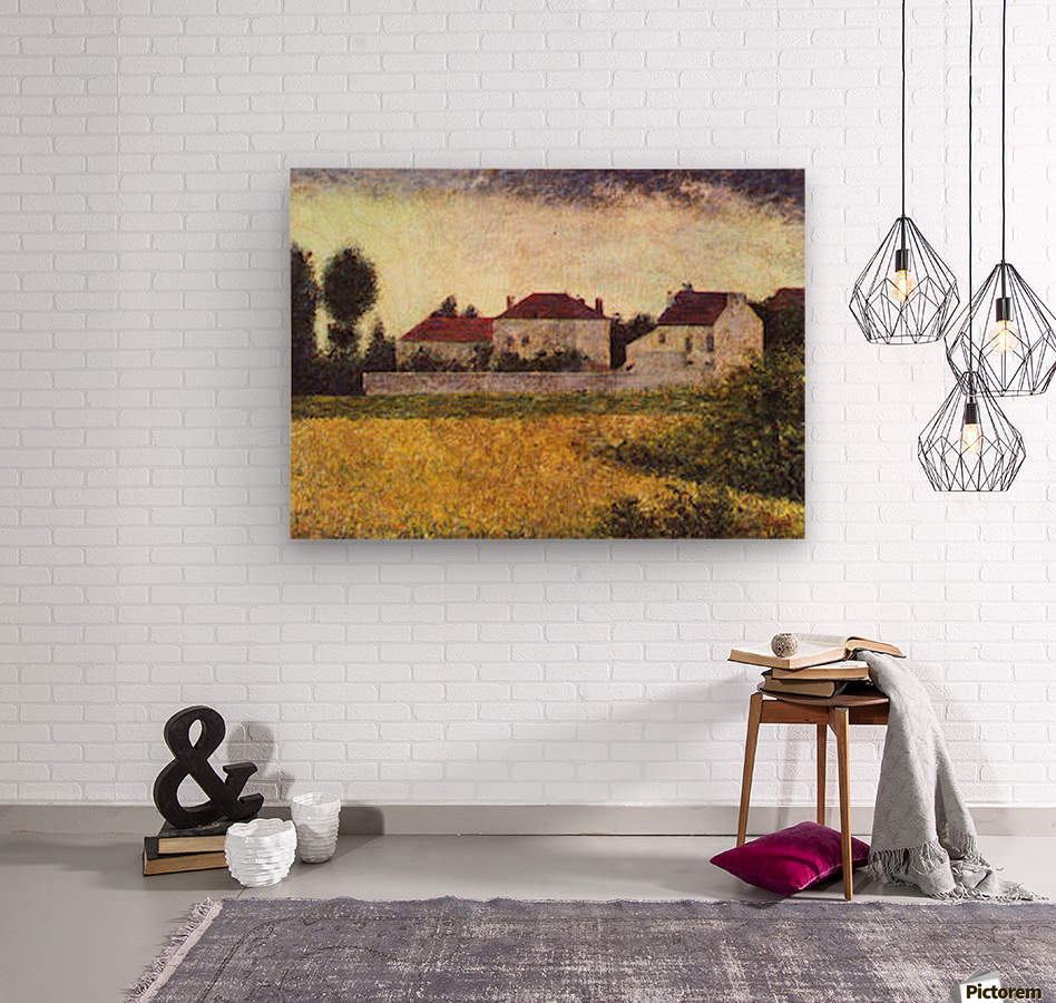 Ville dAvray, The white houses by Seurat  Wood print
