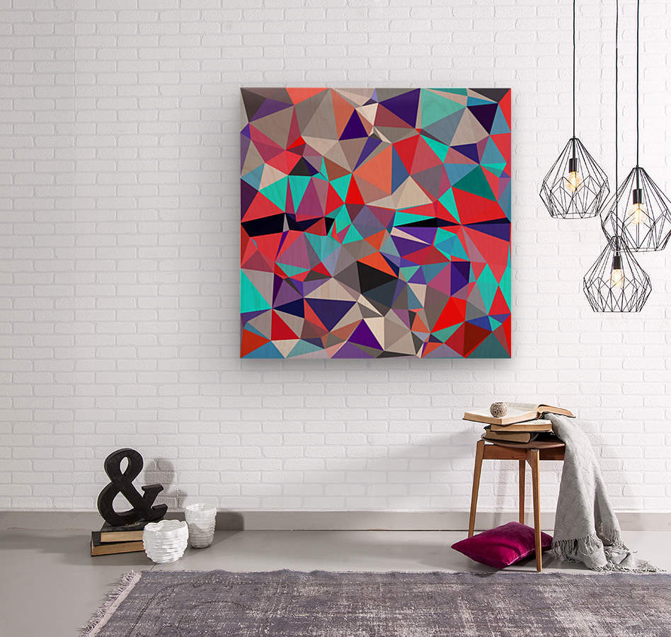 geometric triangle polygon pattern abstract background in red blue purple  Wood print