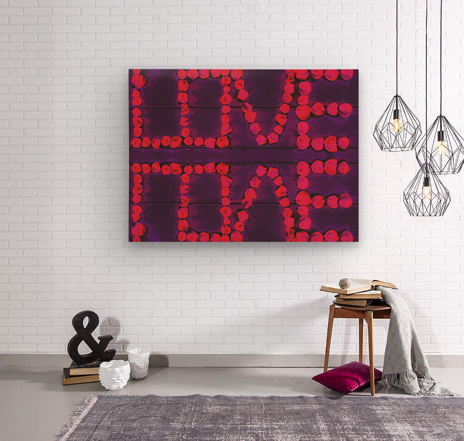LOVE with pink rose on the purple wood background  Wood print