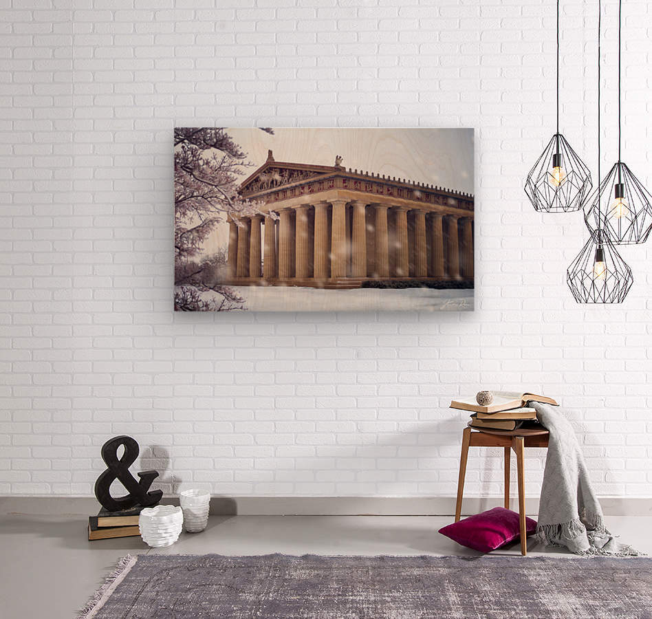 Parthenon in Nashville during winter  Wood print