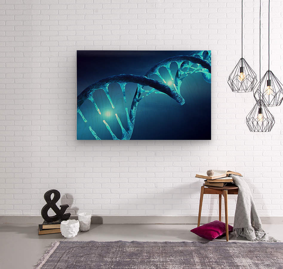 DNA structure illuminated  Wood print