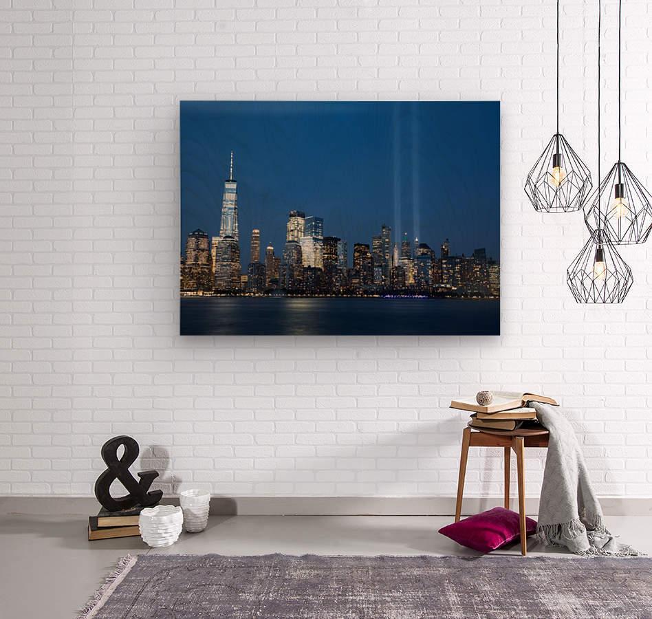 911 Memorial Lights NYC skyline  Wood print