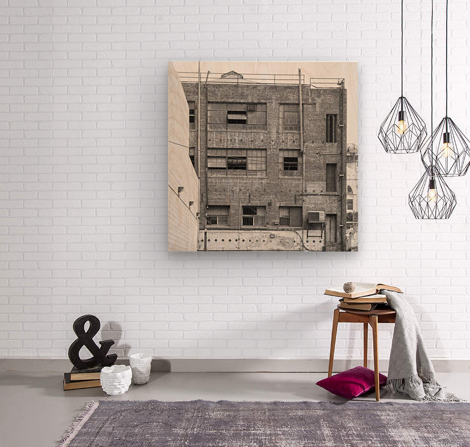 B&W Brick & Windows In Alley - DTLA   Wood print