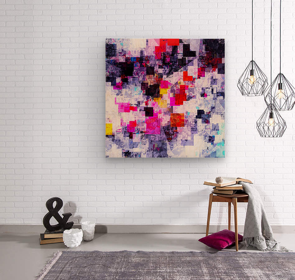 vintage psychedelic geometric square pixel pattern abstract in pink red blue purple  Wood print