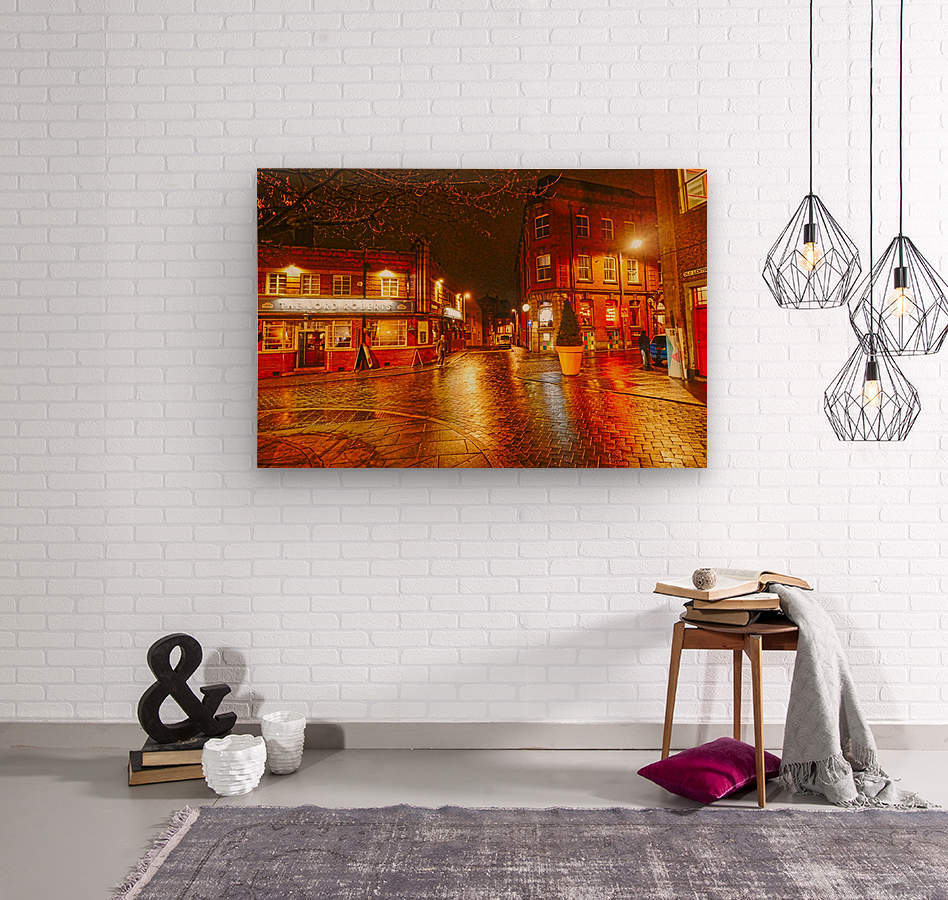 Wet streets by night  Wood print