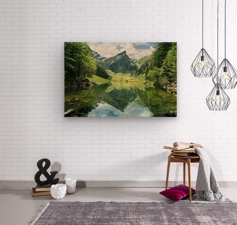 Tranquil scene of seealpsee lake   Wood print