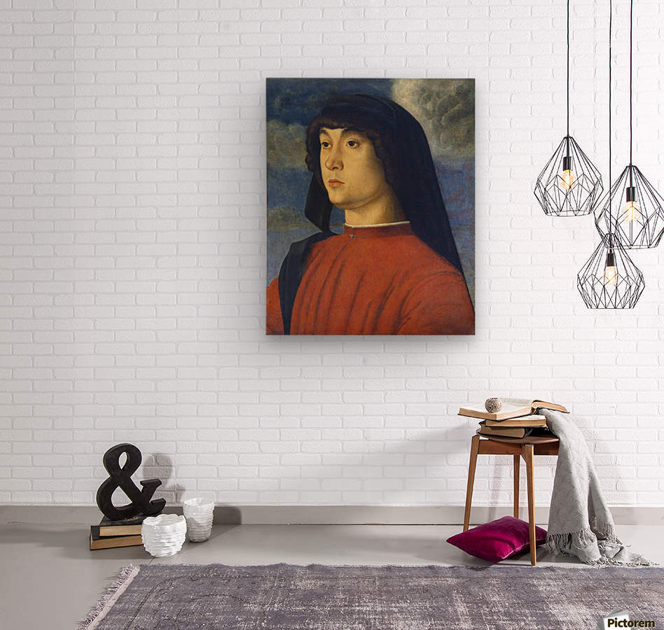 Giovanni Bellini Portrait Young Man Red  Wood print