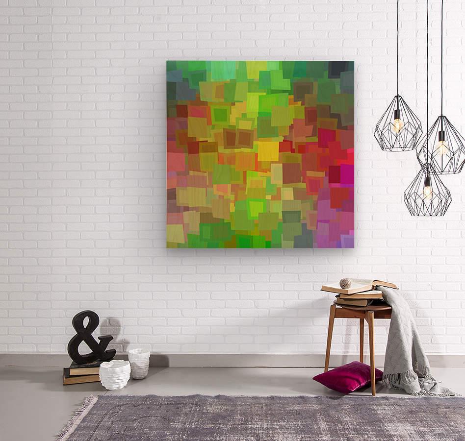 Vivid Squares  Wood print
