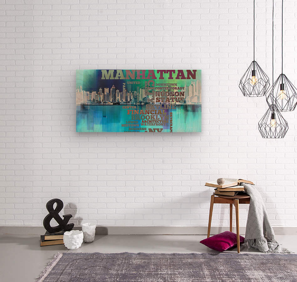 Manhattan harbor  Wood print